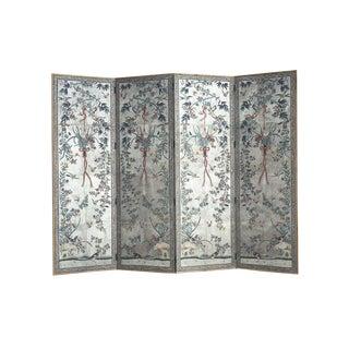 Lawrence & Scott Mille Fleur on Silver Foil Over Paper 4-Panel Screen For Sale