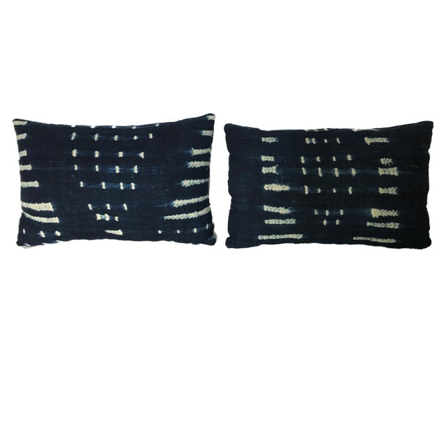 "African Vtg Bondoukou Cloth Textile Indigo Cloth Lumbar Pillows S/2 I. Coast 17.5"" W For Sale - Image 3 of 7"