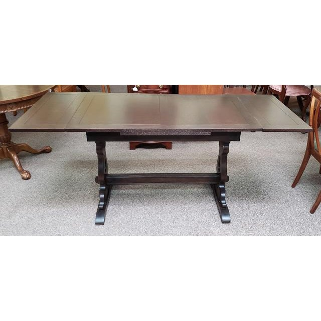 Item #Q44 English Oak Trestle Base Draw Leaf Dining Table c.1940 Old School Dining Table w/ Pull-Out Leaves – UK Import –...