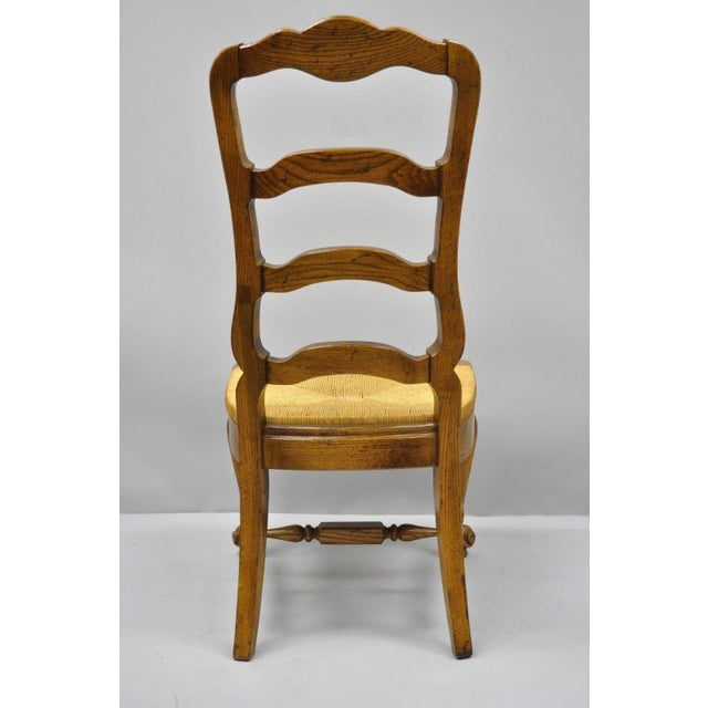 Bernhardt Country French Woven Rush Seat Oak Wood Ladder Back Dining Chair For Sale - Image 11 of 13