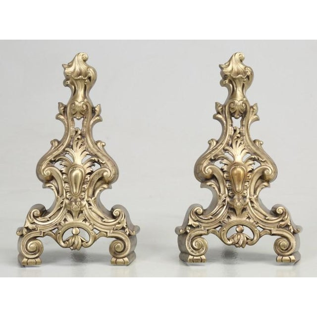 Late 19th Century Antique French Rococo Solid Bronze Andirons - a Pair For Sale - Image 5 of 13