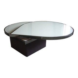 Vintage Modern Teardrop Rotating Glass Metal Cocktail Table For Sale