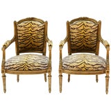 Pair of Guidnon & Fils, Early 19th Century Carved Giltwood Fauteuils For Sale