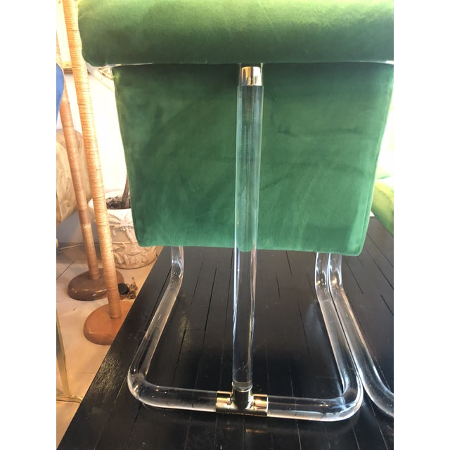 Vintage Signed Lion in Frost Hollywood Regency Lucite Brass Emerald Green Velvet Arm Chairs- A Pair For Sale - Image 10 of 13