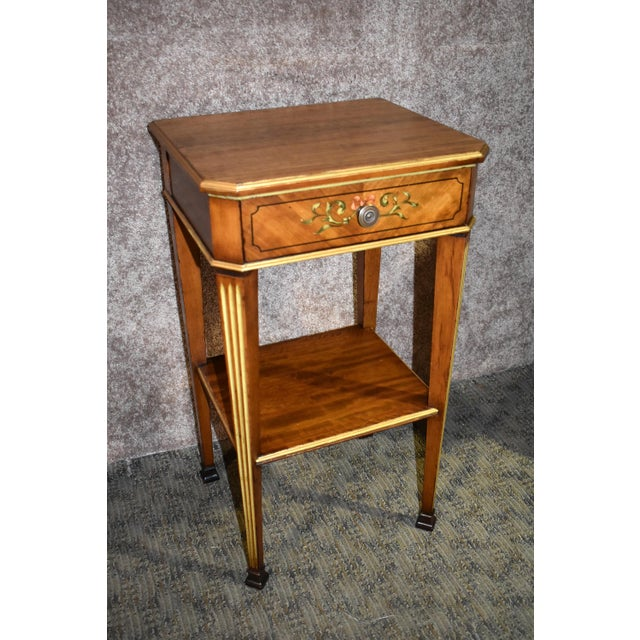 Antique French Satinwood Side Tables with Painted Designs - a Pair For Sale - Image 9 of 13
