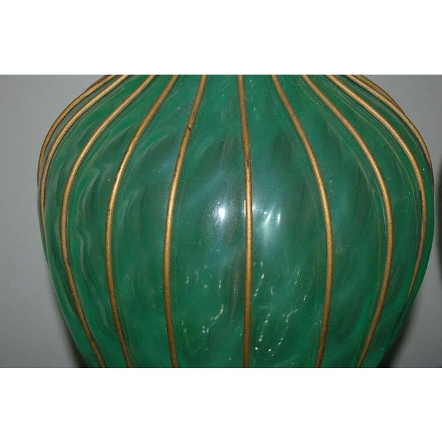 Brass Marbro Murano Opaline Glass Table Lamps Green For Sale - Image 7 of 9