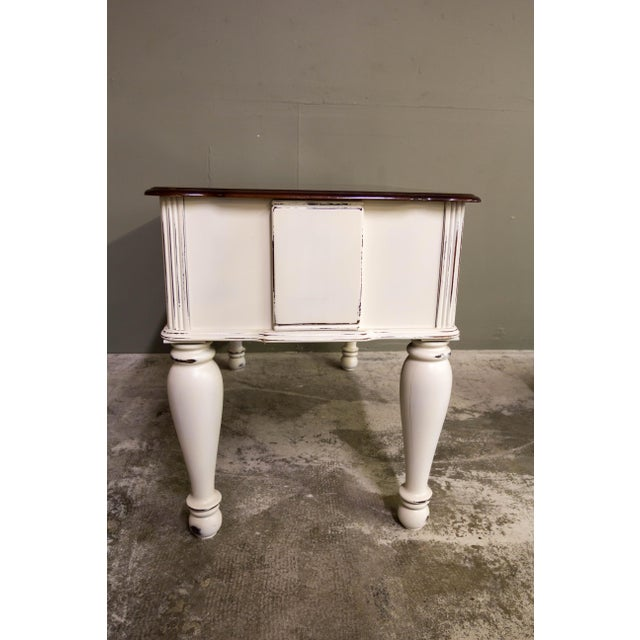 Vintage Original Light Distressed Entry Two Drawer Console Table For Sale - Image 4 of 7