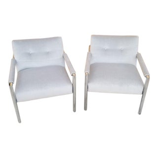 Mid Century Modern Harvey Probber Chrome Frame Lounge Chairs Newly Upholstered - Pair For Sale