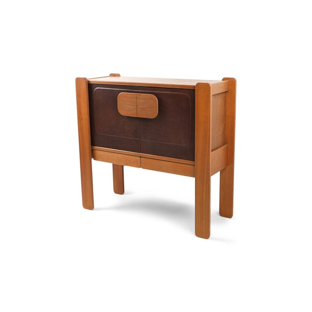 Brown Walnut and Leather Postmodern Cabinet For Sale - Image 8 of 8