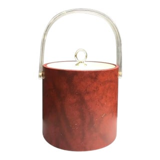 1960s Mid Century Shelton Ware Lucite-Handle Leather Ice Bucket For Sale
