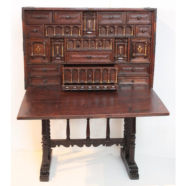 """Spanish vargueno, 16th century, rare and important architectural design featured in the book """"Antique Spanish Furniture""""..."""
