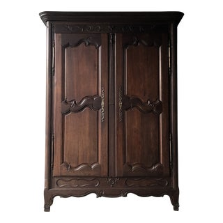 Antique French Country Carved Oak Armoire Wardrobe For Sale