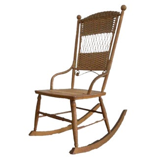 Vintage Wicker Rocking Chair For Sale