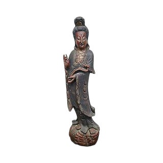 Antique Hand Carved Wood Large Asian Statue of Woman Goddess Kuan Yin For Sale