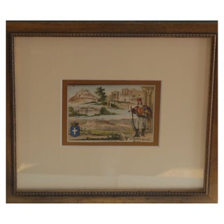 Early 1900s Framed French City Card, Athens