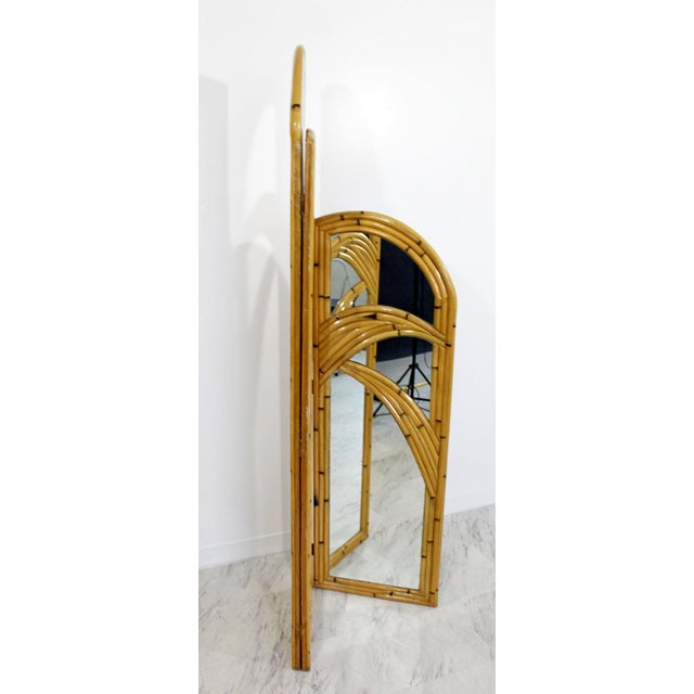 1970s Mid-Century Modern 3 Panel Rattan and Mirror Folding Screen Room Divider For Sale In Detroit - Image 6 of 8