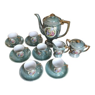Early 19th Century Green Victorian Couple With a Child Tea Set of 15/Reduced For Sale