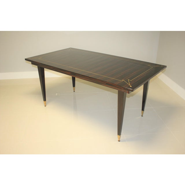 1940s French Art Deco Exotic Macassar Ebony Writing Desk / Dining Table For Sale - Image 9 of 13