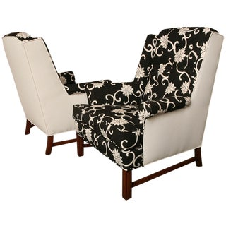 Pair of Mid Century Modern Wingback Chairs 1950s For Sale