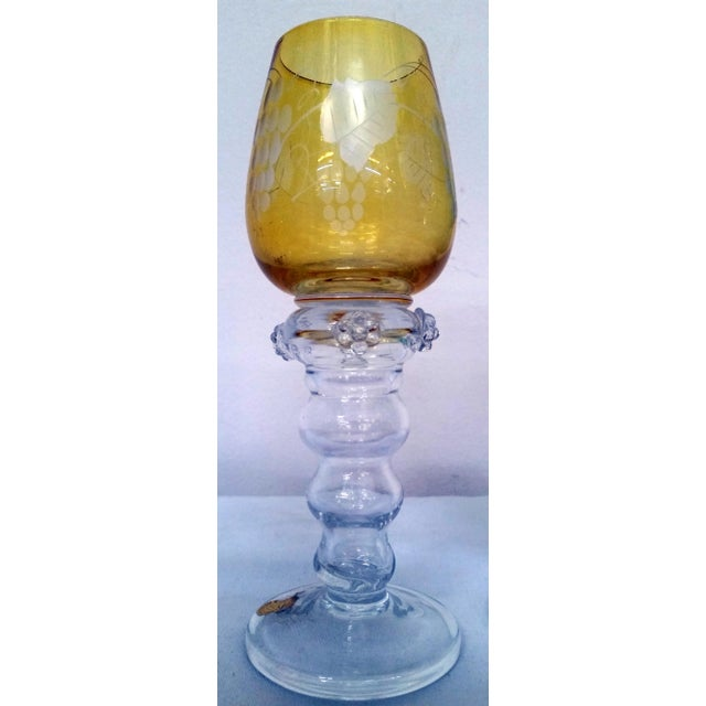 Gulla Skruf Green & Yellow Wine Goblets - A Pair For Sale - Image 4 of 6