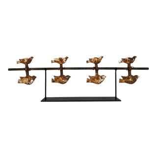 Vintage Cast Iron Spinning Shooting Gallery Spinning Birds Target, Circa 1930s For Sale