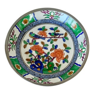 Vintage Pewter Backed Chinoiserie Catchall For Sale