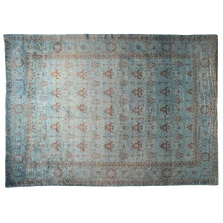 Blue & Orange Rug Pakistani Rug - 12′ × 15′ For Sale