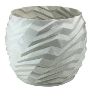 Architecture Planter With Geometric Ribs - White