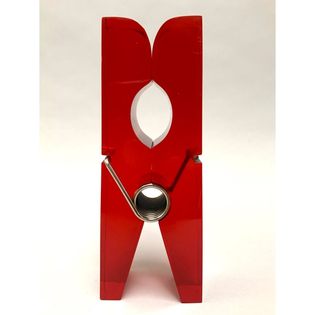 Red Oversized Red Lucite Clothespin Paperweight or Paper Holder For Sale - Image 8 of 13