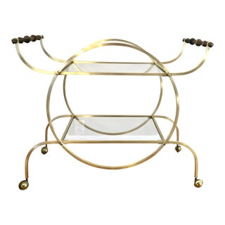 Hollywood Regency Style Brass Bar Cart With Beveled Glass Shelves For Sale