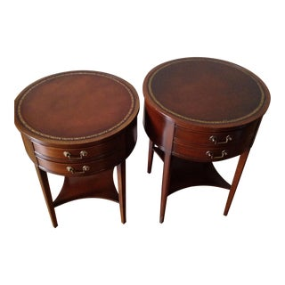 1920s Traditional Walnut Drum Tables Round Side Tables - a Pair For Sale