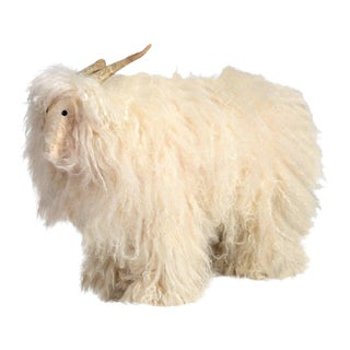 Vintage Sheep or Mountain Goat With Natural Horns, Made by Hand Circa 1960s For Sale