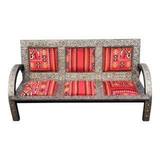 Handmade Moroccan Cedar Wood and Metal Inlay Bench For Sale