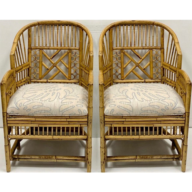 Wood Pair of Chinese Chippendale Style Brighton Bamboo Chairs For Sale - Image 7 of 7