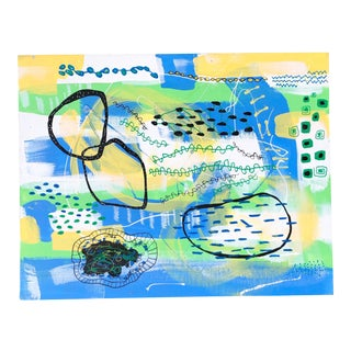 Vintage Yellow and Blue Abstract Painting For Sale