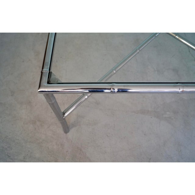 1960s Hollywood Regency Chrome Bamboo Coffee Table For Sale - Image 9 of 13
