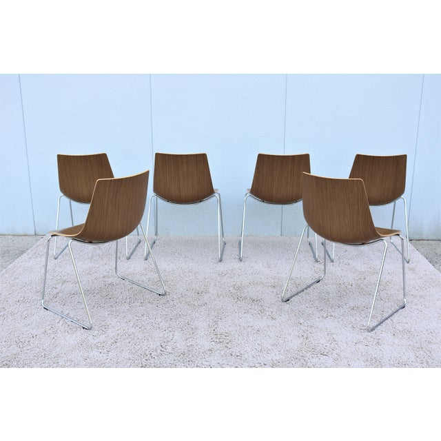 Brown Mid-Century Modern Style Allermuir Curve Dining or Stacking Side Chairs- Set of 6 For Sale - Image 8 of 13