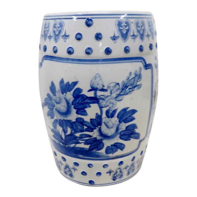 Chinese Floral Blue & White Gargen Stool For Sale