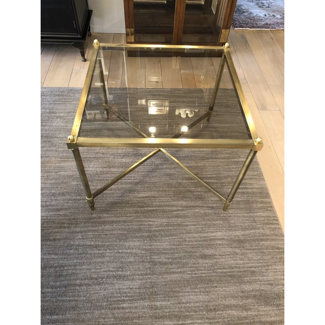1960s 1960s Mid Century Brass Side Table Light Smokey Glass Top For Sale - Image 5 of 5