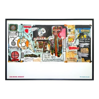 """Jean Michel Basquiat Estate Rare 1999 Collector's Iconic Lithograph Print Large Framed Tony Shafrazi Gallery Poster """" Notary """" 1983 For Sale"""