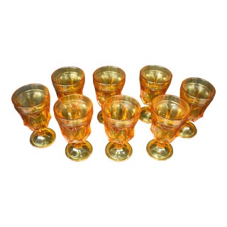Vintage Amber Water Goblets - Set of 8 For Sale