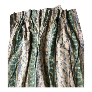 85 Inch. Green and Yellow Cotton Printed Blackout Curtains With Additional 7 Yards Fabric - a Pair For Sale