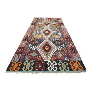 1960s Vintage Kilim Turkish Flatweave Rug For Sale