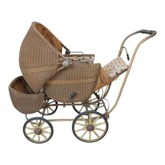 Very Cool Antique Victorian Wicker Baby Stroller Carriage