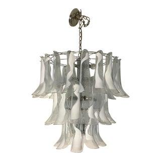 1970s Mazzega Murano Italy Three Tier 38 White Clear Lattimo Glass Petals Chandelier For Sale