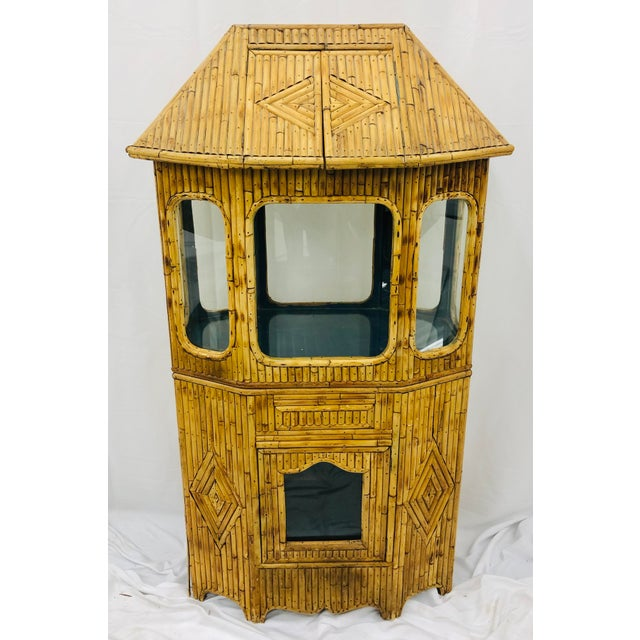Brown Antique Split Bamboo Curiosity Cabinet Display Case For Sale - Image 8 of 8