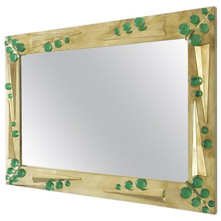 Fabio Ltd Verde Green Murano Glass Inserts Brass Mirror For Sale