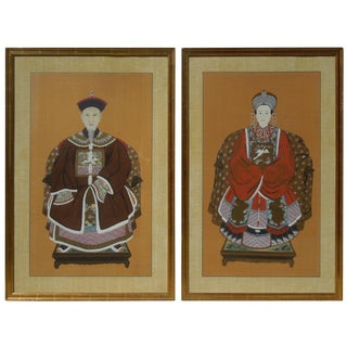 Pair of Large Original Chinoiserie Emperor and Empress Paintings For Sale