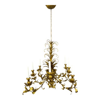 Gilt Palm Leaf Regency Chandeliers (2 Available)