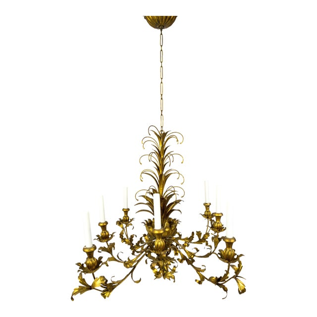 Gilt Palm Leaf Regency Chandeliers (2 Available) For Sale